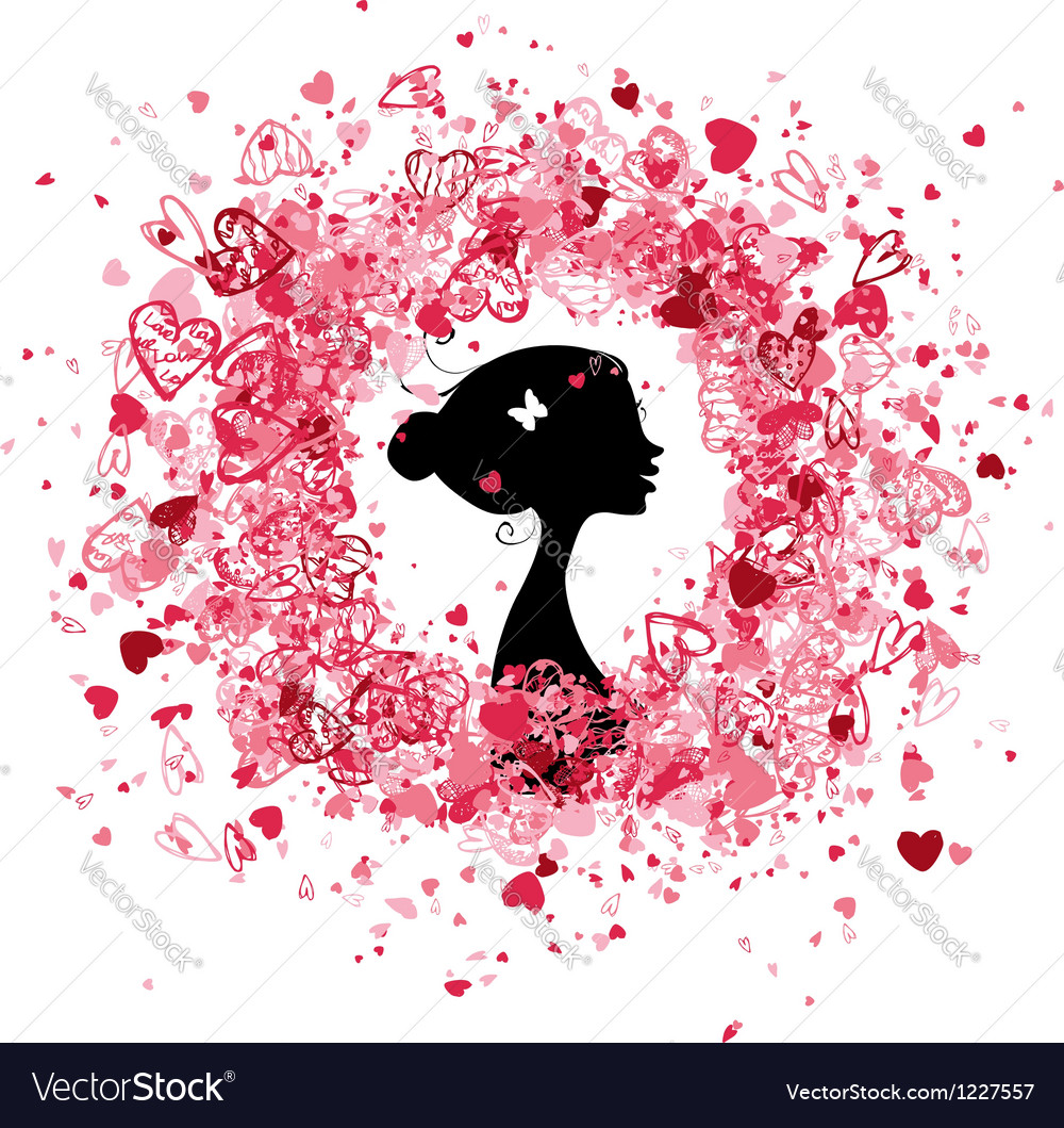 Valentine frame design with woman silhouette vector