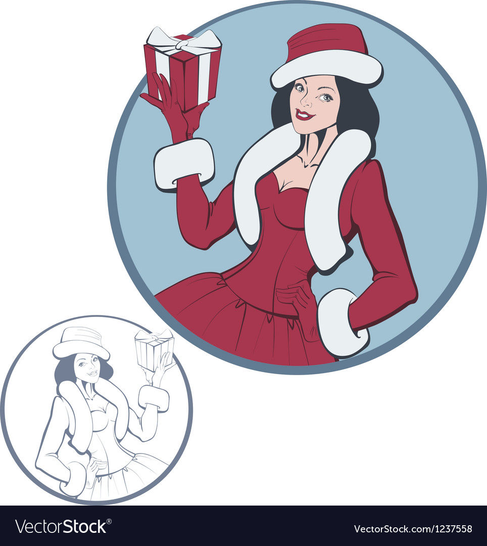 Young smimling woman in costume of santa claus vector