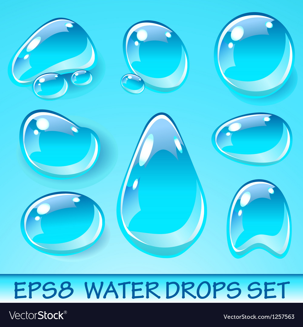 Water drops icon set vector