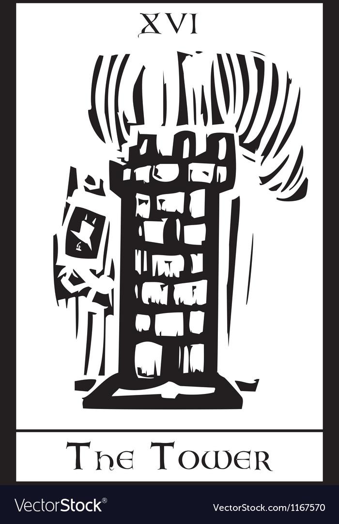 Tower tarot card vector