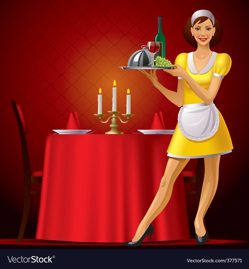 Waitress in restaurant vector
