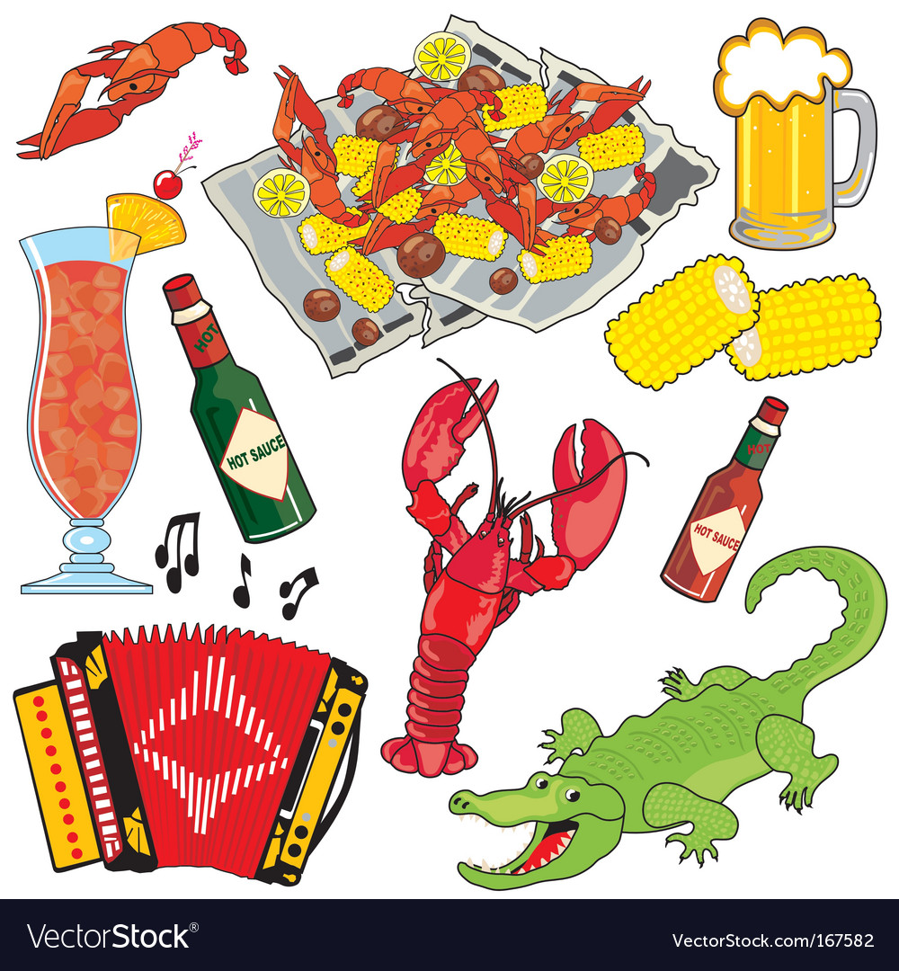Cajun food and drinks vector