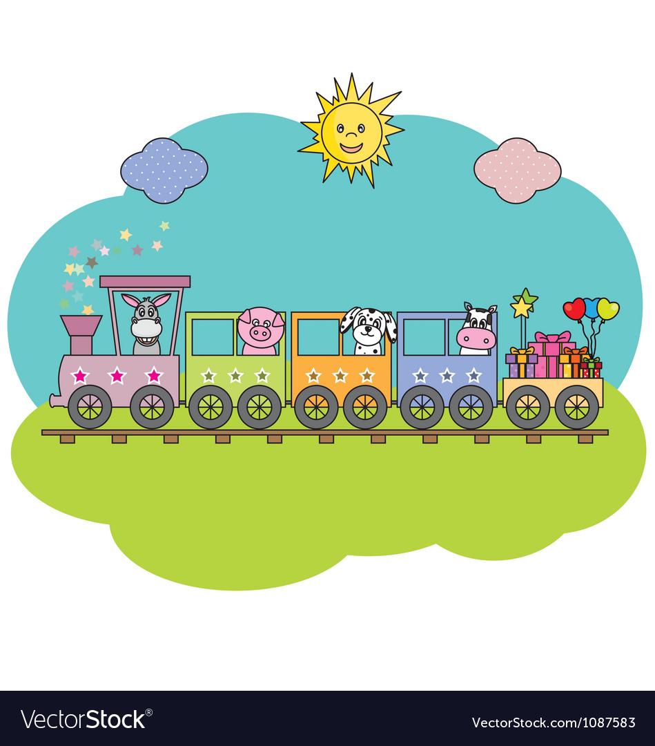 Children train with farm animals vector