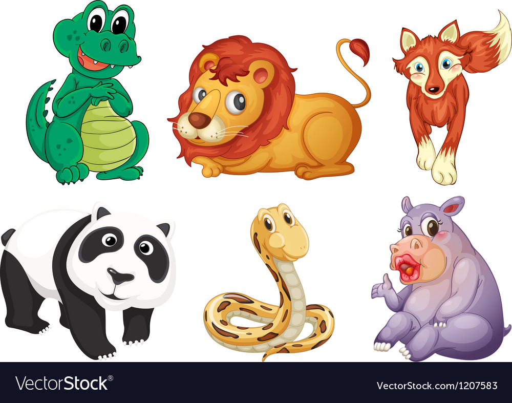 Six different kinds of animals vector