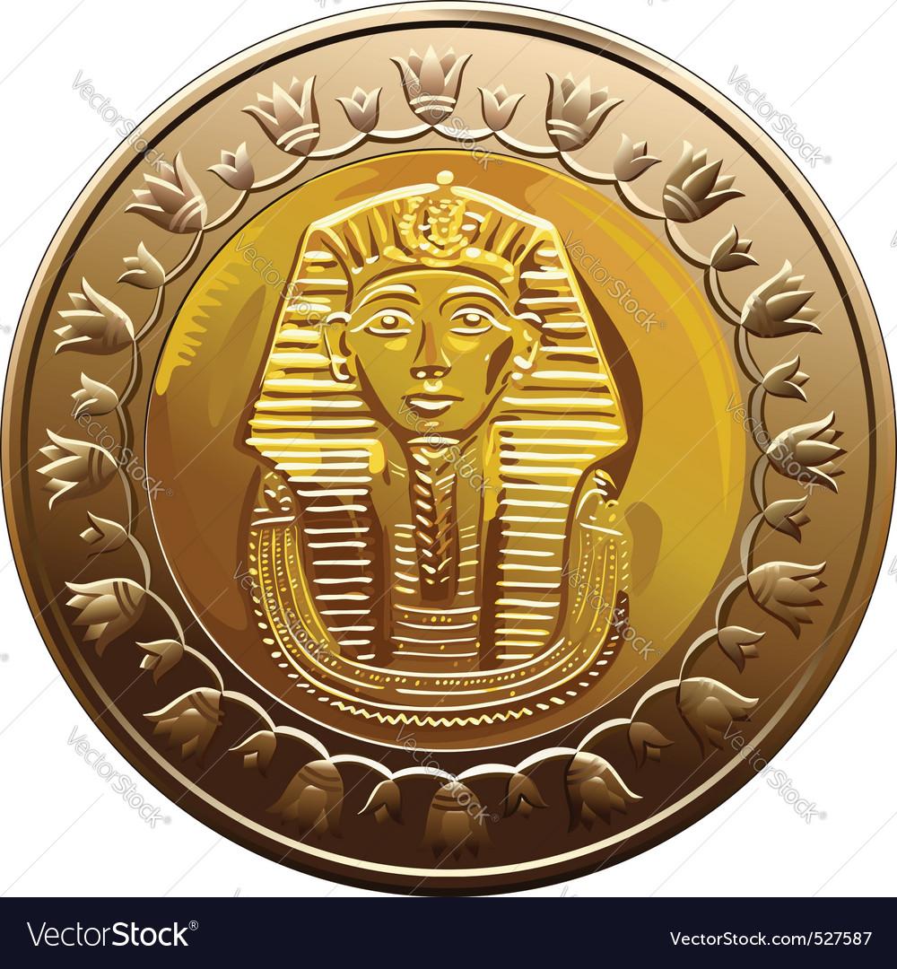 Egyptian coin featuring pharaoh vector