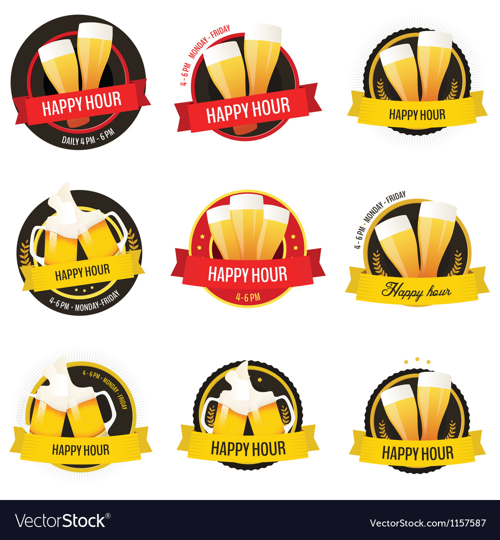 Set of happy hour restaurant bar labels vector