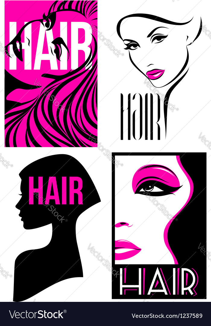 Womans hairstyle design set of designs vector