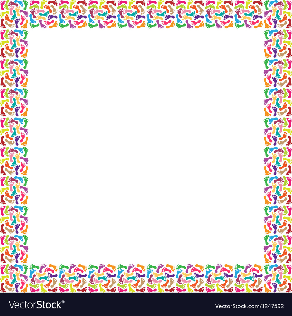 Frame of colorful feet vector
