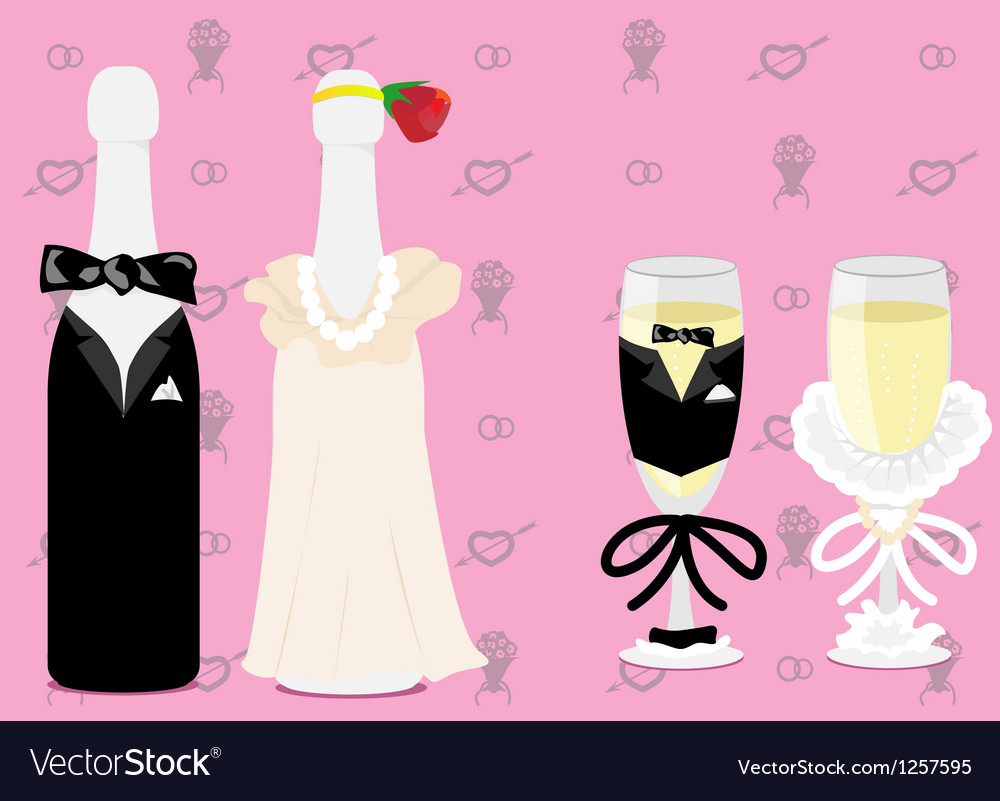 Wedding champagne vector