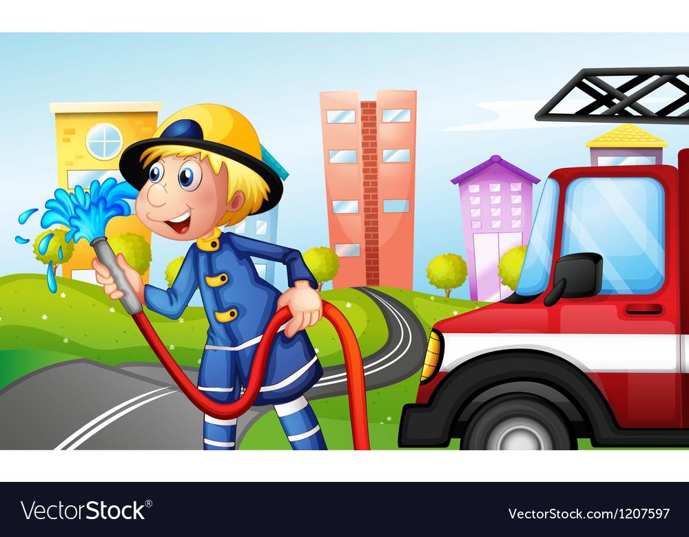 A fireman with a hose at the street vector