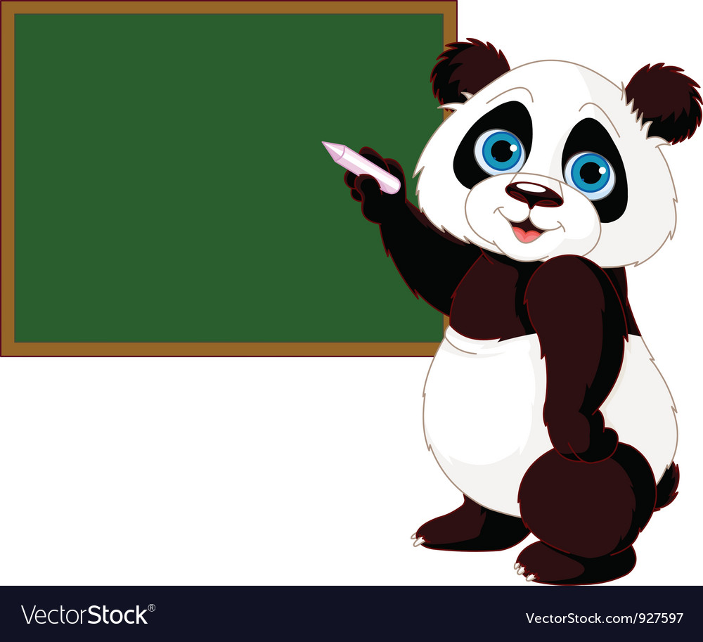 Panda writing on blackboard vector