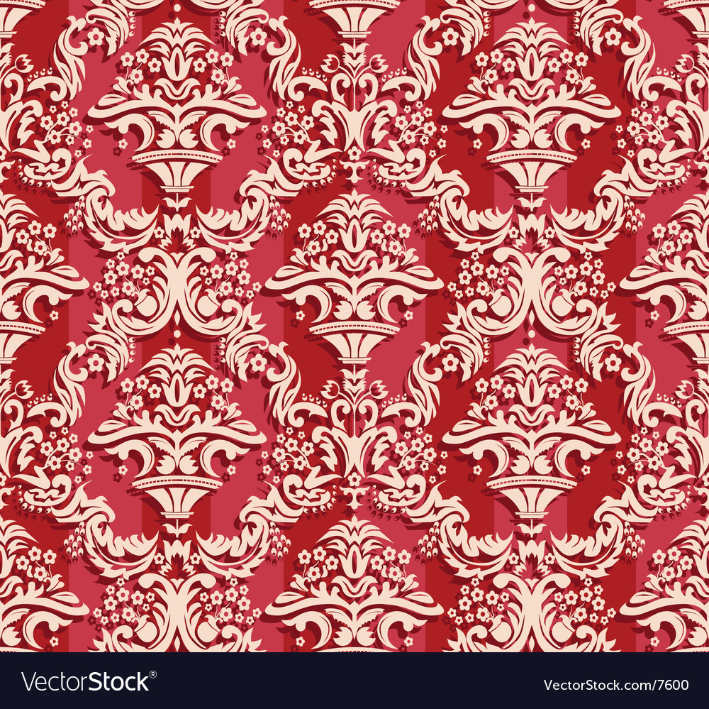 Elegant seamless red damask pattern vector