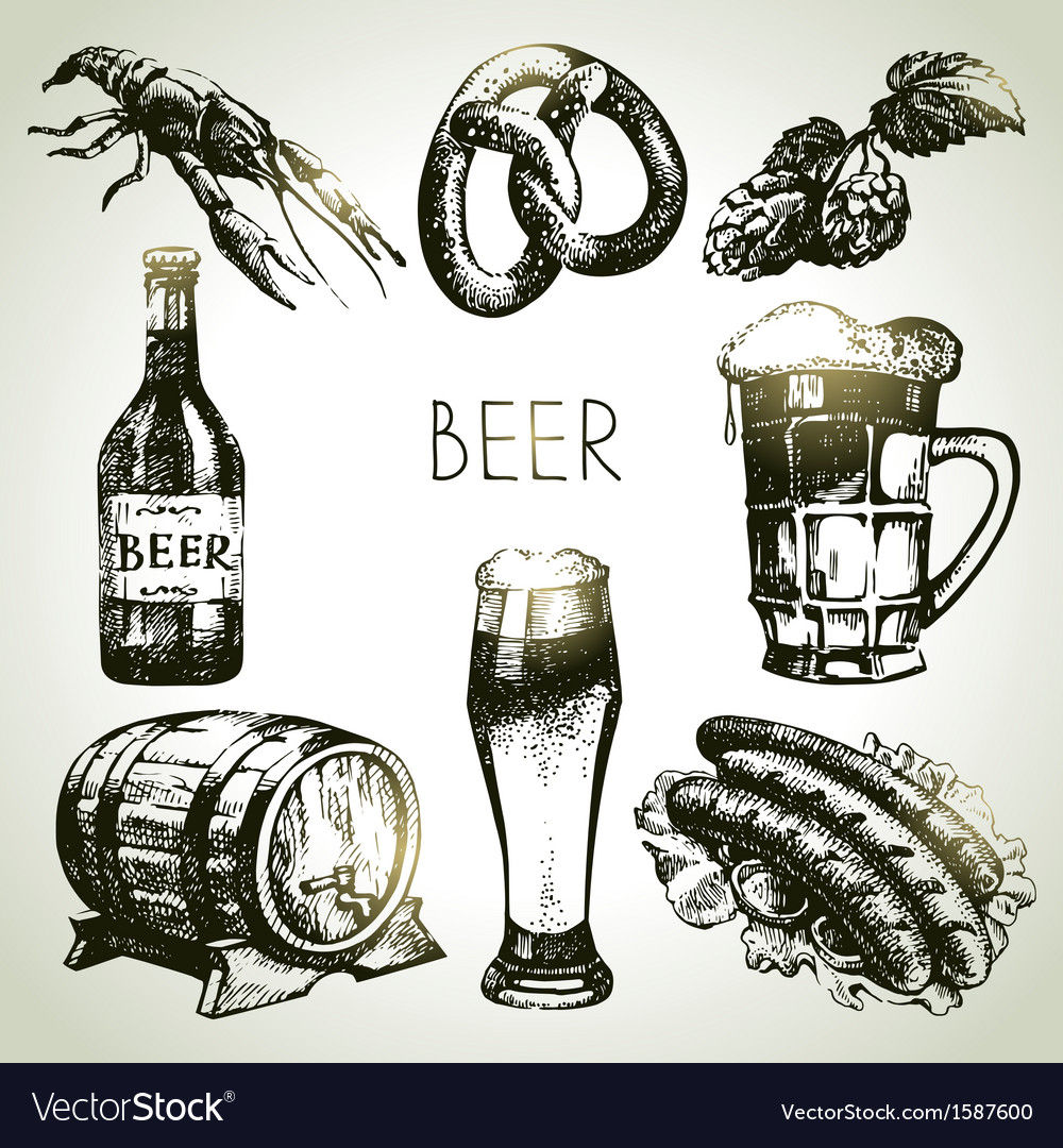 Hand drawn oktoberfest set of beer vector