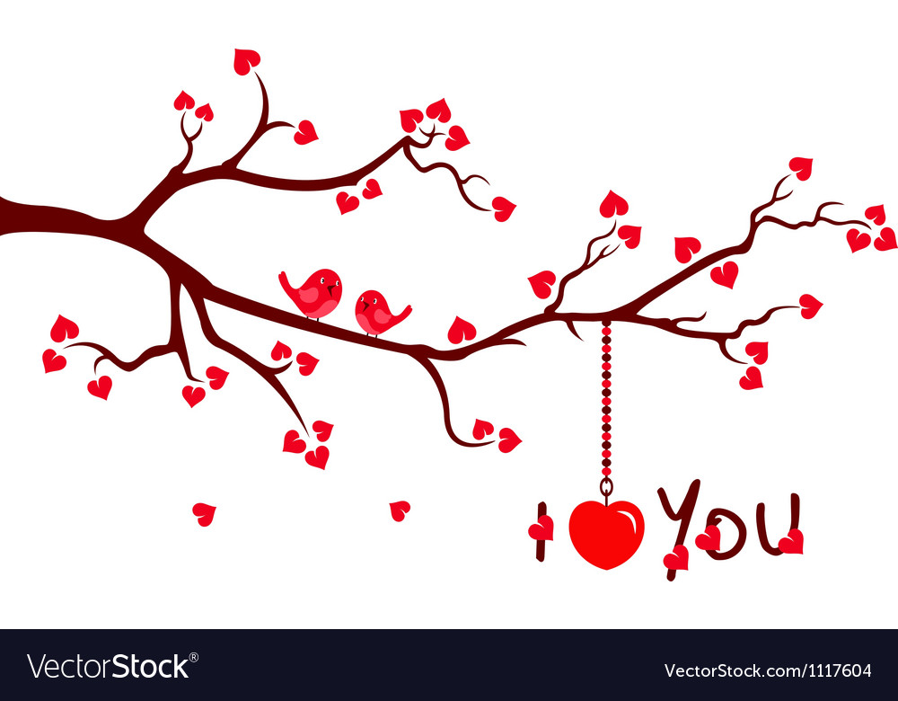 Tree branch with love hearts vector