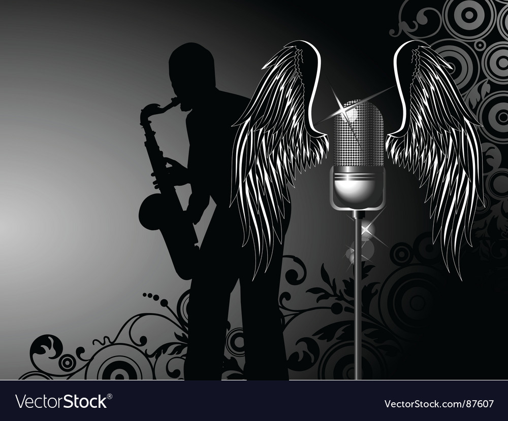 Microphone with wings vector