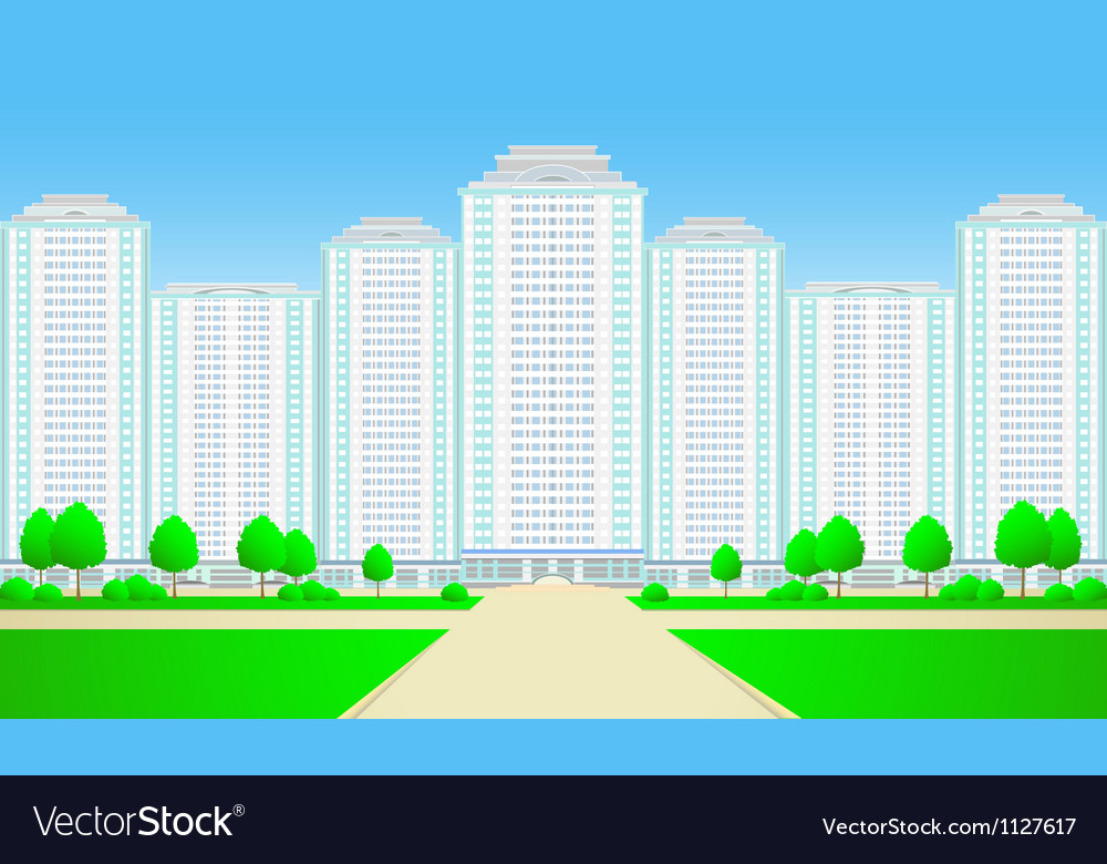 City skyscrapers with roadtree and grass vector