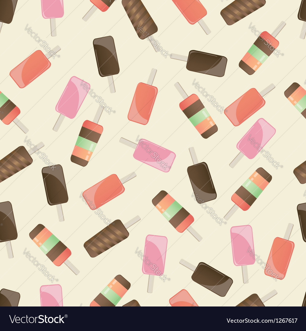 Different popsicles on brown background vector