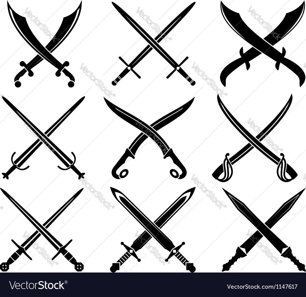 Set of heraldic swords and sabres vector