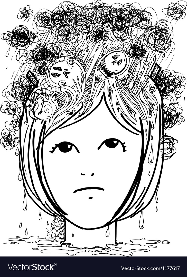 Woman head full of nightmares vector