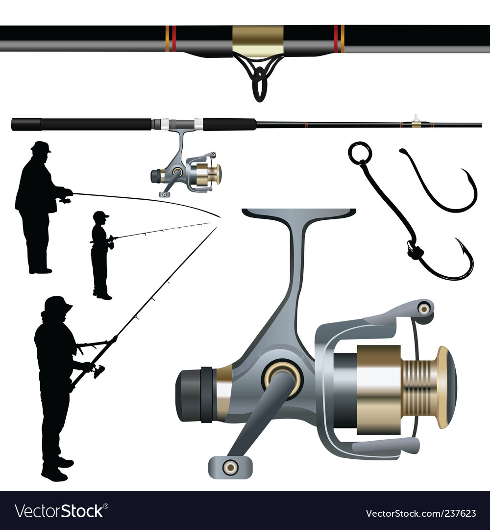 Fishing rod reel hook vector