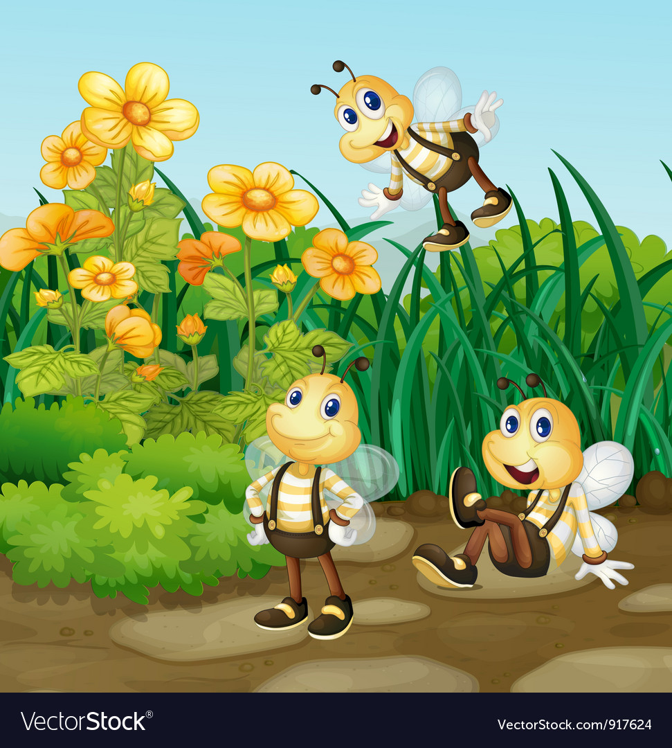 Bee in garden vector