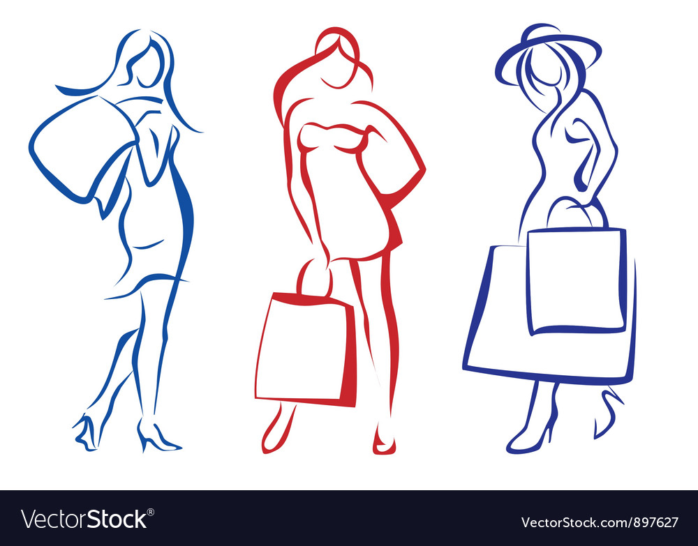 Woman with shopping bag set vector
