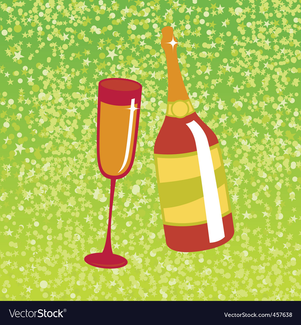 Wine bottle and glas vector