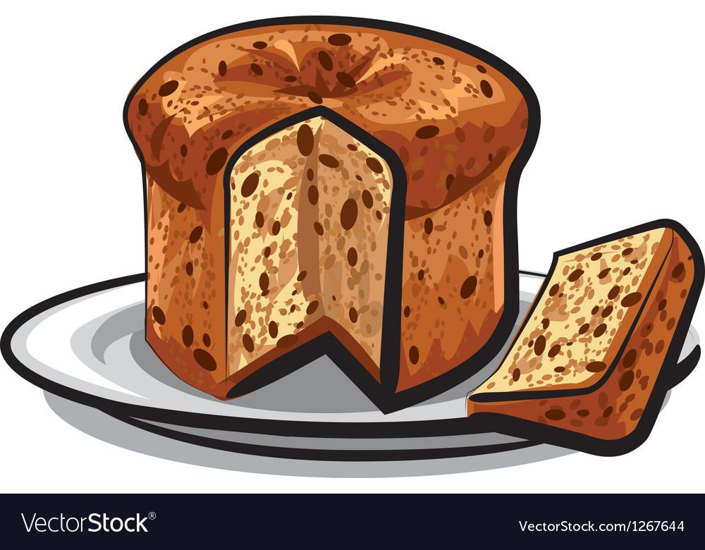 Raisins cake panettone vector