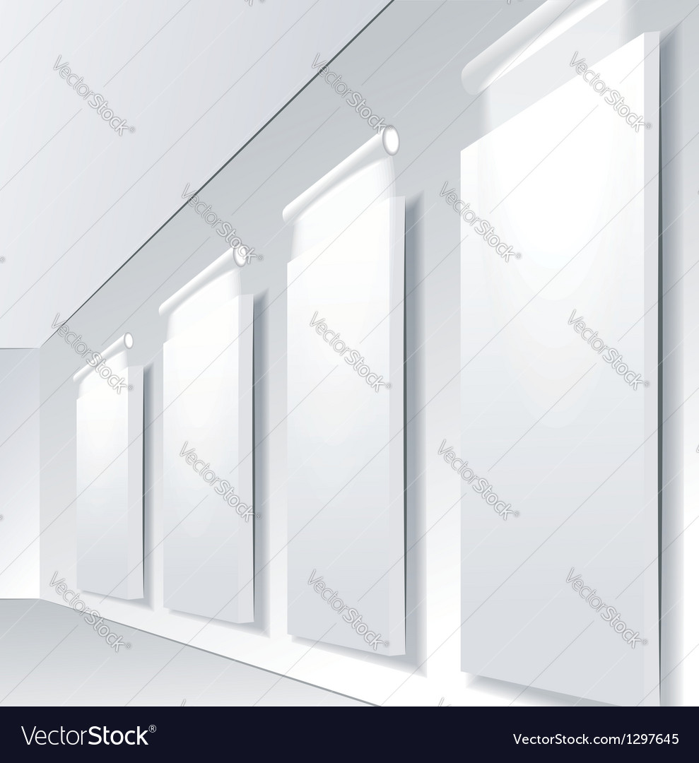 Gallery interior with niche inside the panel vector