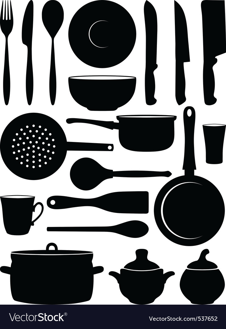 Set of silhouettes dishes vector