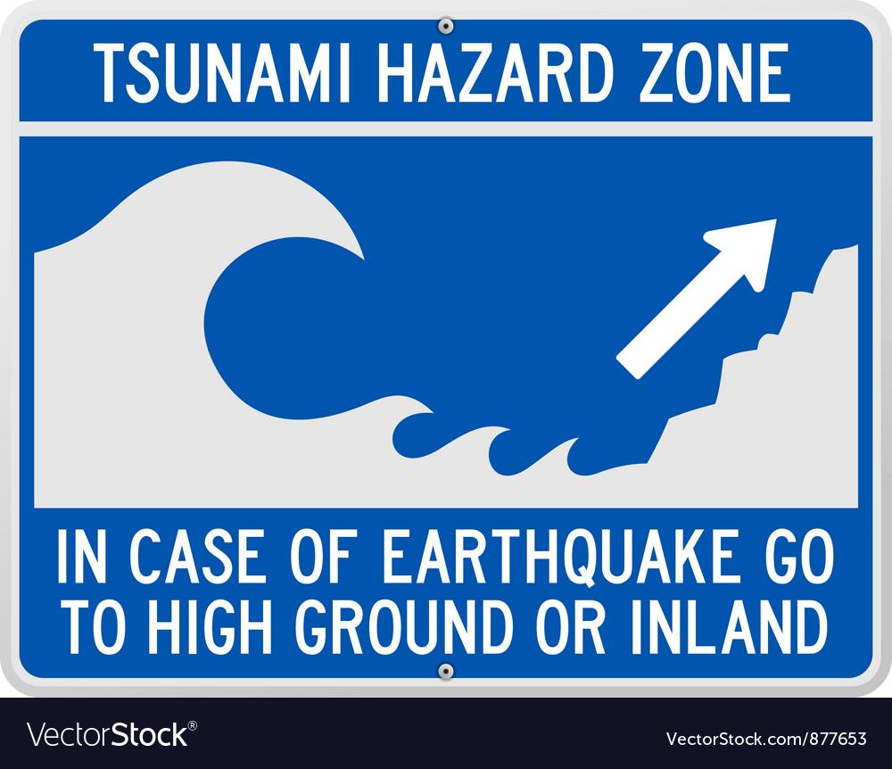 Tsunami danger sign vector