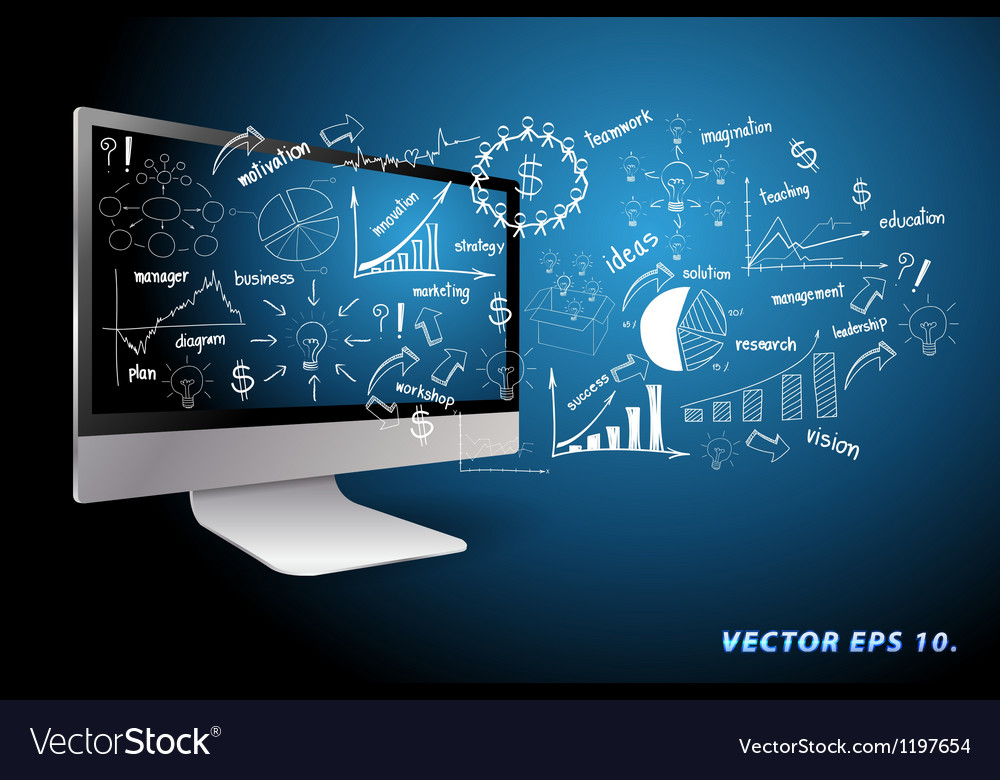 Computer with drawing business plan concept ideas vector