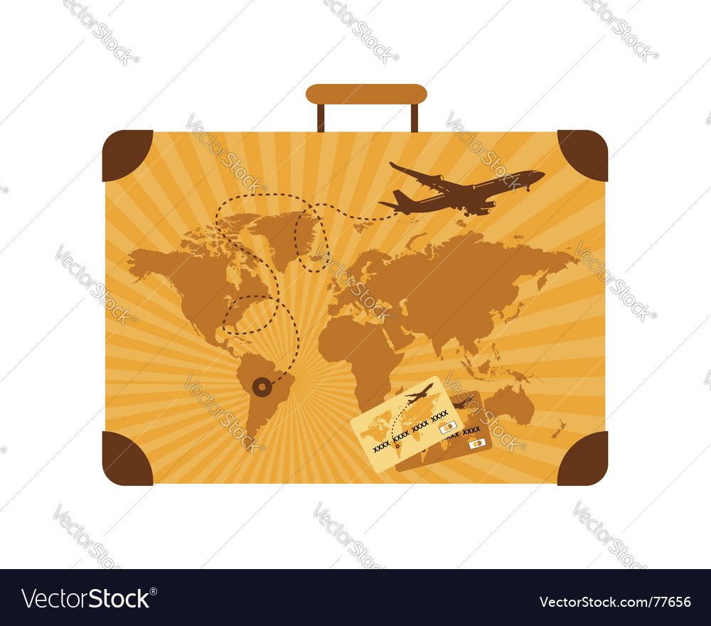 Summer travel suitcase vector