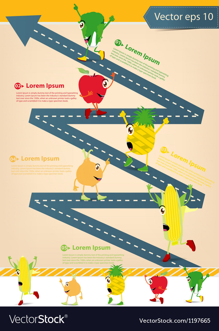 Road going up as an arrow with cartoon fruits vector