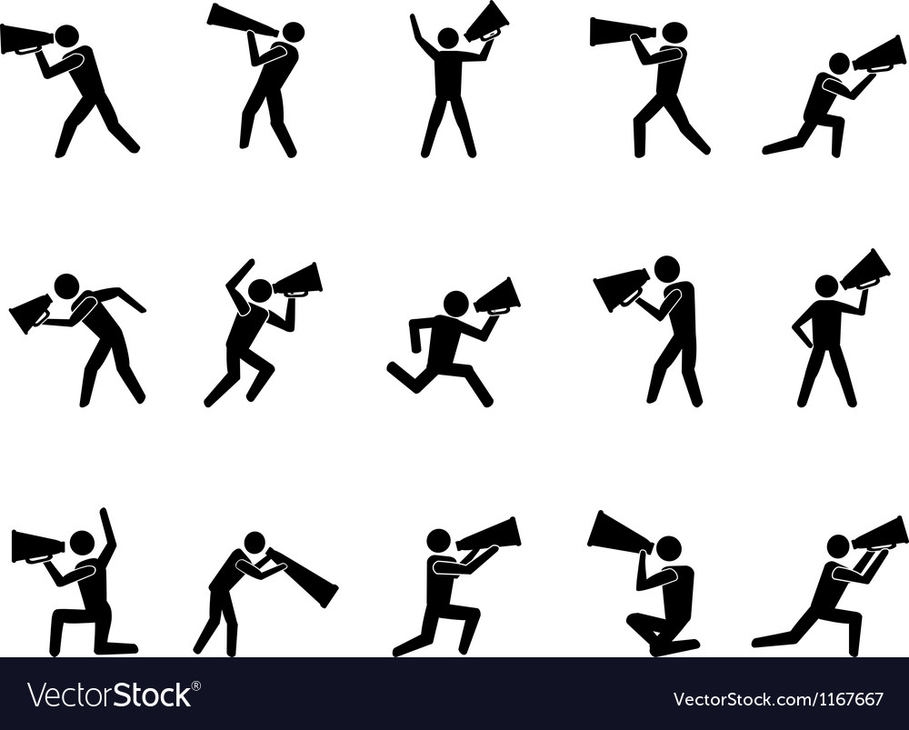 Collection of people with megaphone vector