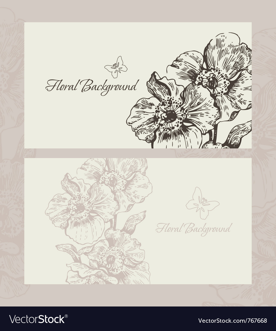 Wedding invite with floral background vector