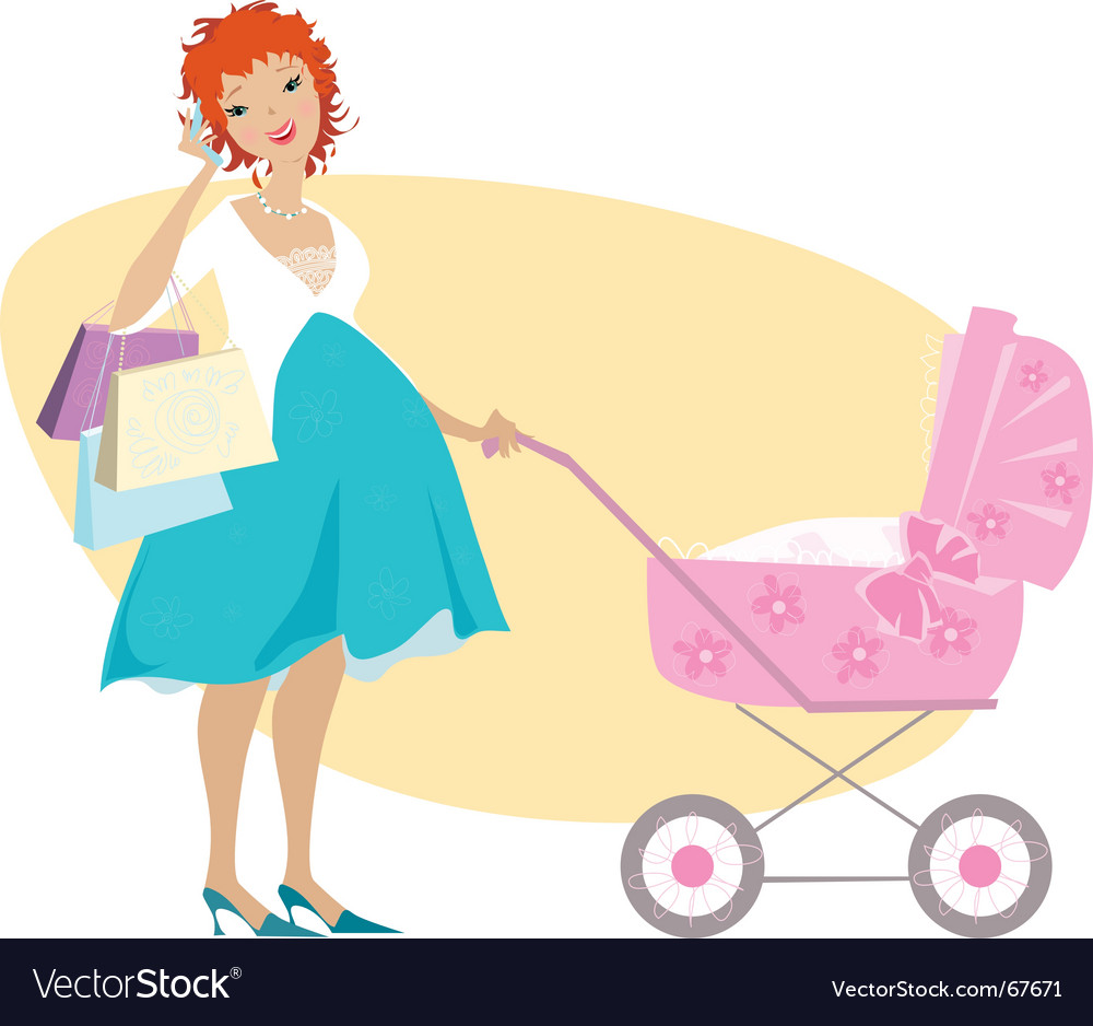 Shopping mother and baby carriage vector
