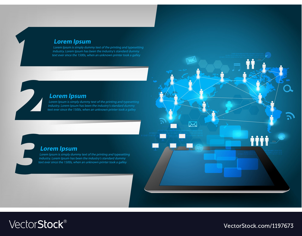 Virtual network process diagram on tablet vector