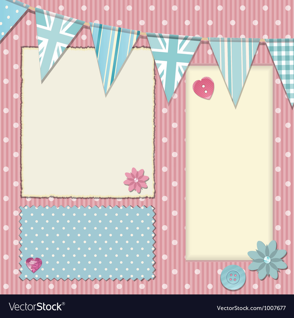 Pink polka dot srapbooking background vector