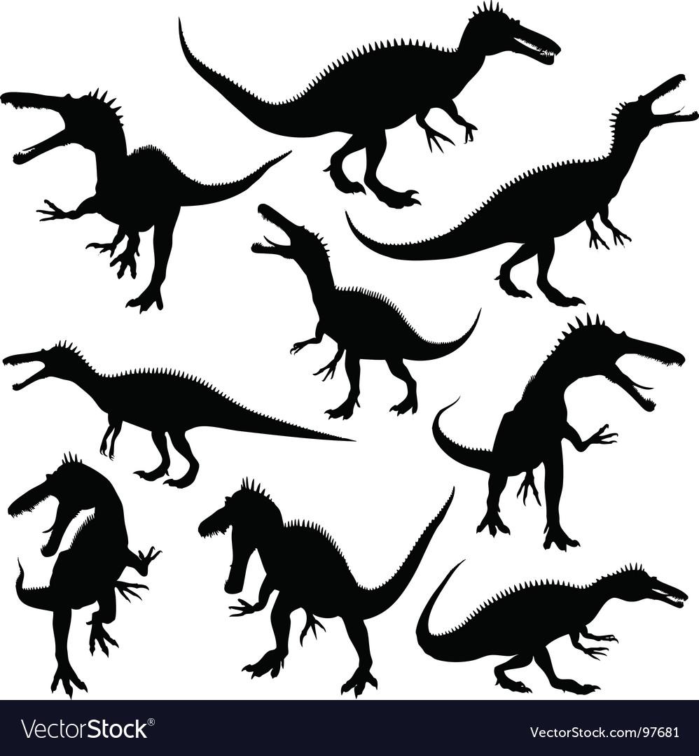 Dinosaur silhouettes vector