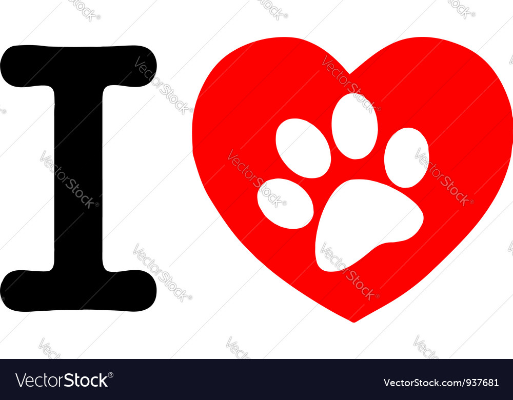 White paw print in a heart and letter i vector