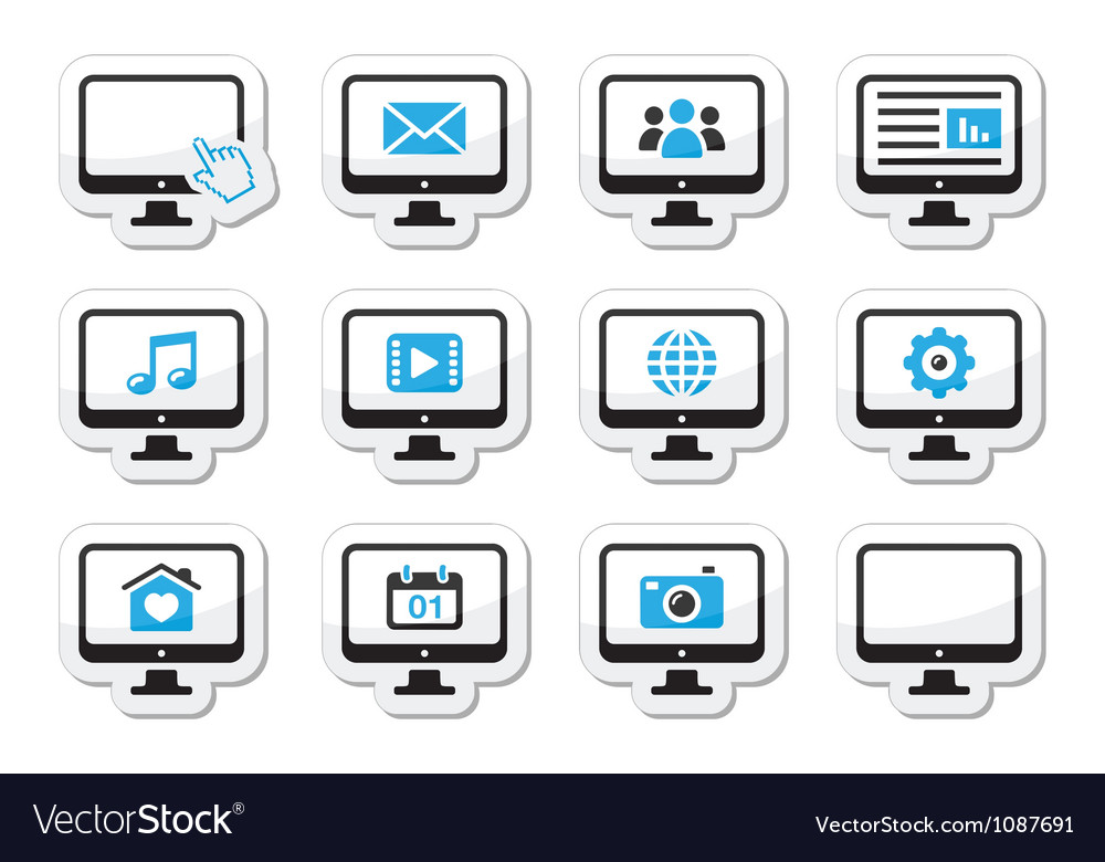 Computer screen icons set as labels vector