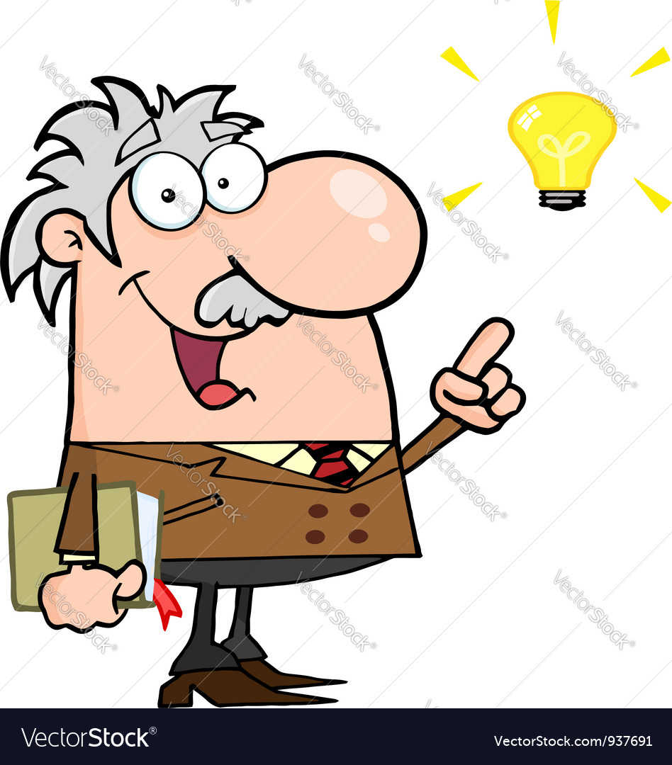Professor with a bright idea vector