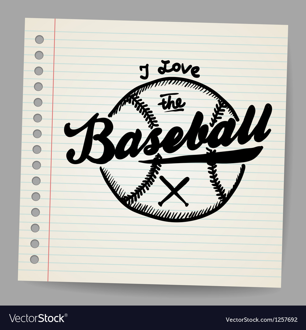 Doodle baseball design element vector