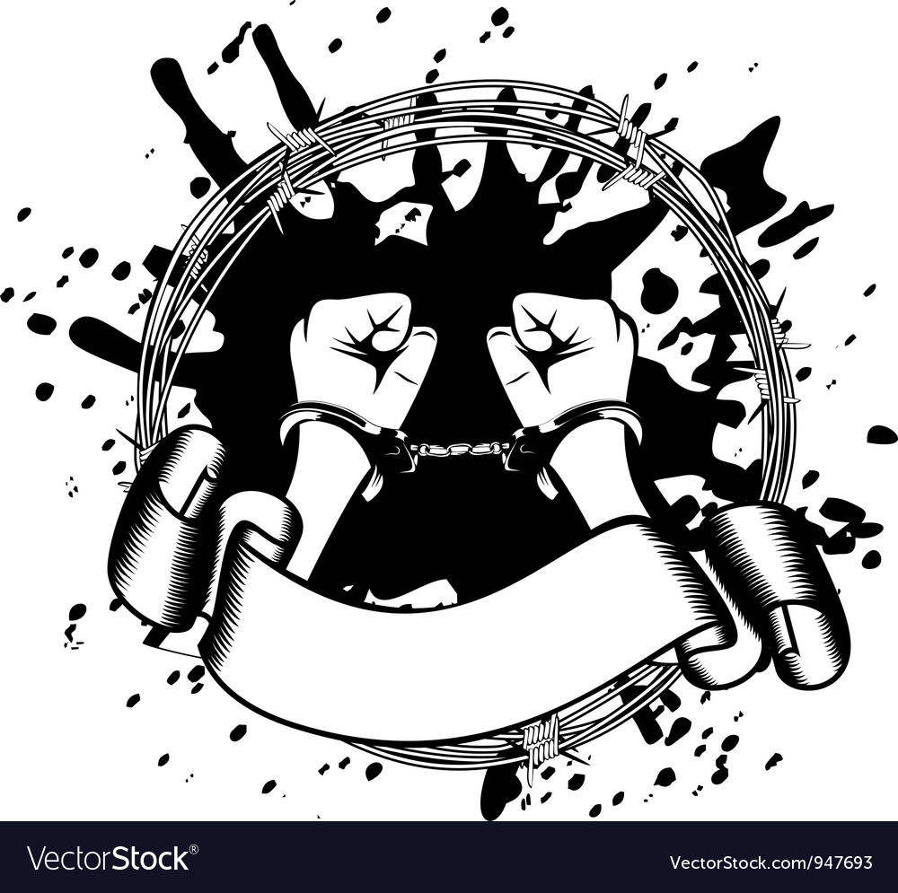 Hands in handcuffs vector