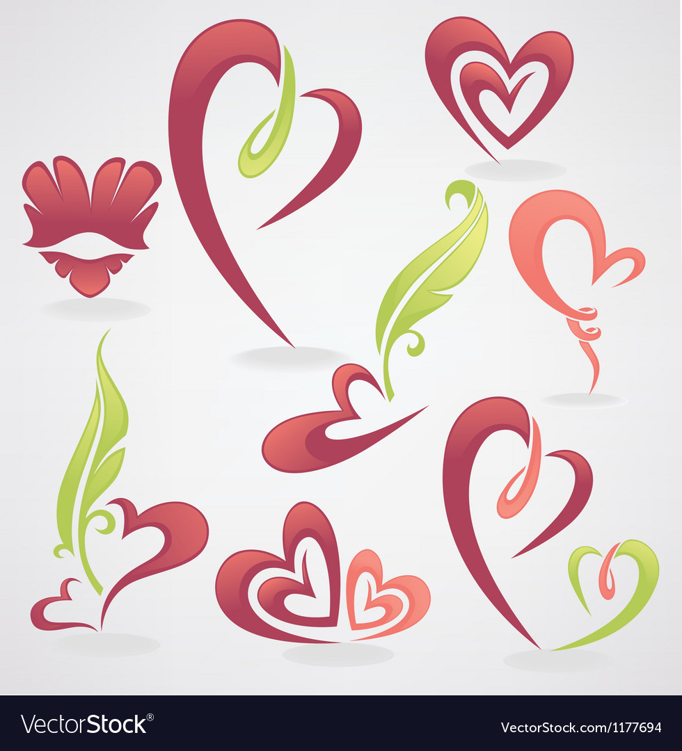 Collection of love concept labels and form vector