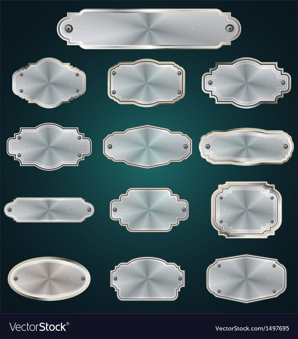 Metal plates set vector