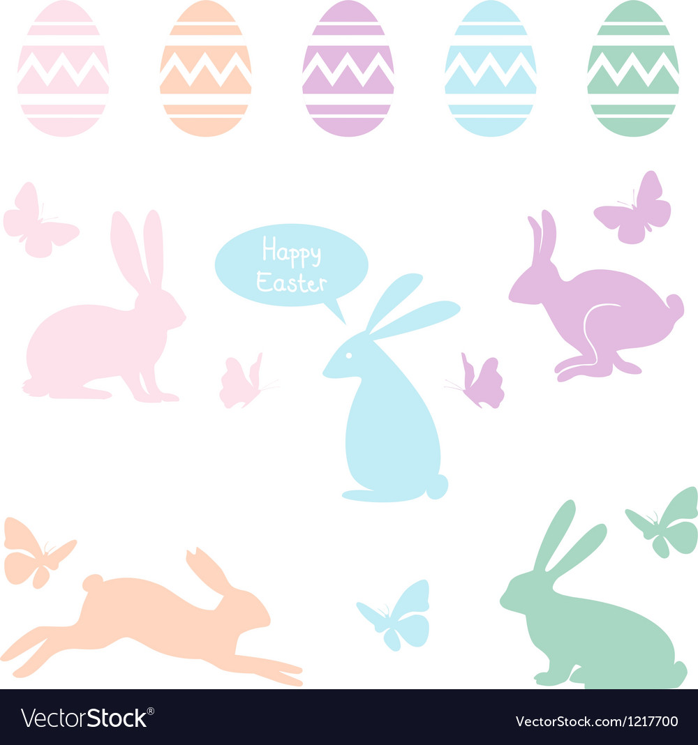 Easter bunnies and eggs set vector