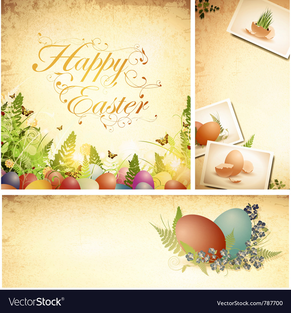 Vintage easter background vector