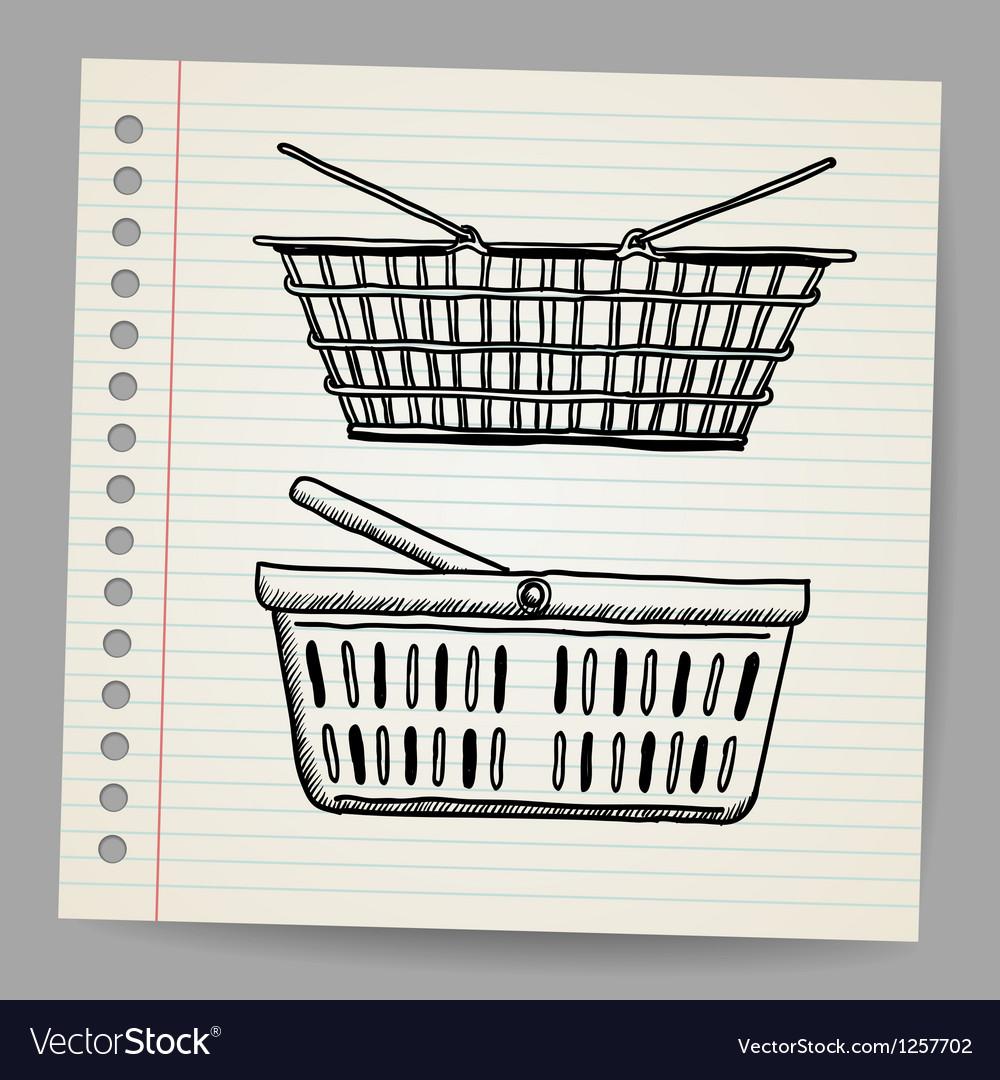 Plastic basket doodle style vector